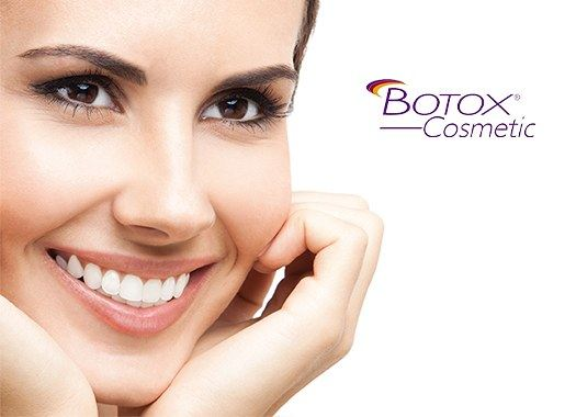 Woman with smooth skin and Botox logo