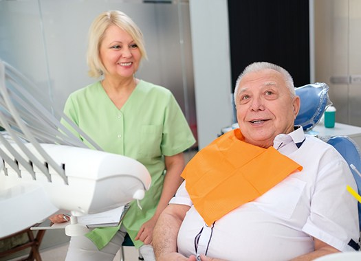 An older man at a dental appointment.